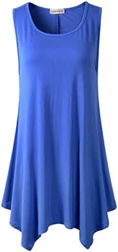 Lanmo Women Plus Size Solid Basic Flowy Tank Tops Summer Sleeveless Tunic