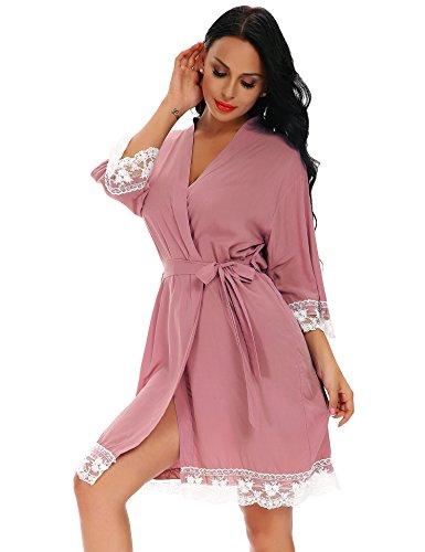 FISOUL Women's Lace-Trimmed Satin Short Kimono Robe Bathrobe Loungewear (Coral L)