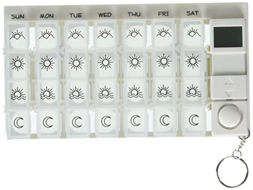 PuTwo 7 Day Digital Pill Box with 28 Compartments 4 Timer Alarm Medication Reminder Organizer Dispenser, White, 0.25 Pound