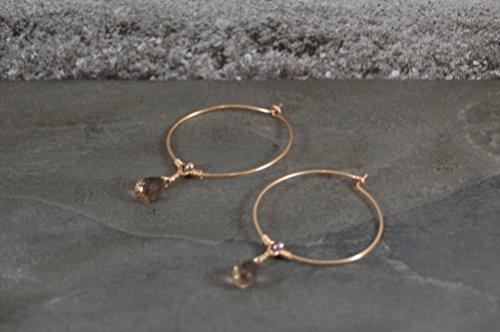 Pearl Smoky Quartz Earrings - Smoky Flower Hoop Earrings - Gold - Smoky Quartz - Pearl - One of a Kind