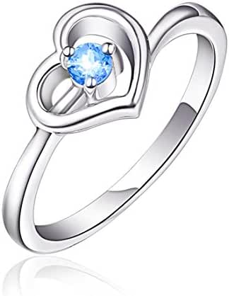 925 Sterling Silver Heart Shape with Blue Tone Stone CZ Ring, Size 7