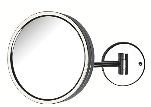 Jerdon JD13C 8.5-Inch Adjustable Wall Mount Makeup Mirror with 5x Magnification, Chrome Finish by Jerdon