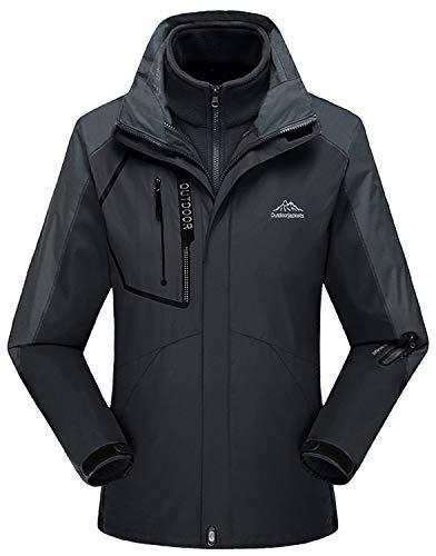 Rdruko Women's Winter 3-in-1 Waterproof Shell Snowboarding Mountain Hiking Rain Jacket(Black,US XL) ()