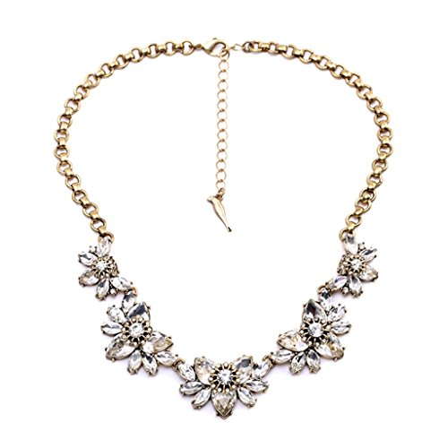 FitandWit FitWit Rhinestone Crystal Statement Choker Exaggerated Flower Fashion Costume Necklace Wedding Jewelry ()