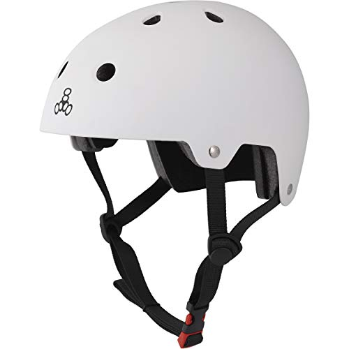 Triple Eight Dual Certified Bike and Skateboard Helmet, White Matte, Small / Medium
