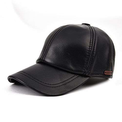 VOBOOMMen's Retro Genuine Leather Precurved Bill Baseball Cap with Snapback MY009 (Solid Genuine Leather Baseball Cap)