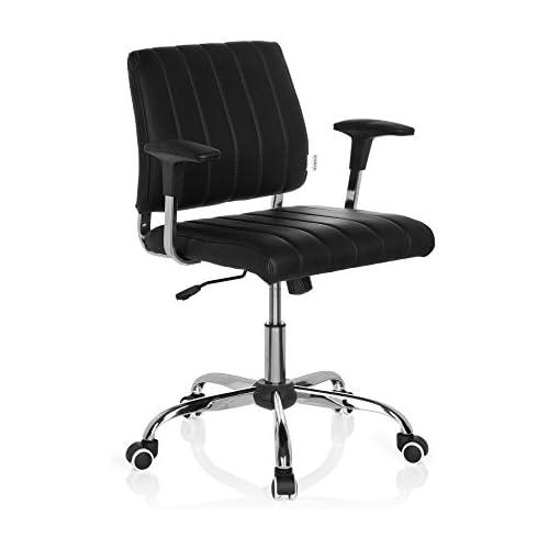 chollos oferta descuentos barato HJH Office Fernando Silla de Oficina Piel Negro 43 x 56 x 93 cm