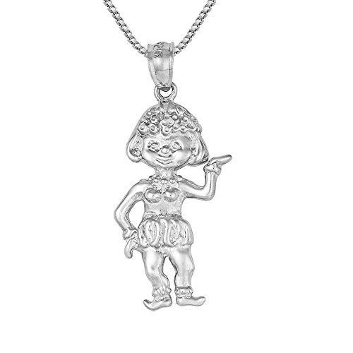 Sterling Silver Hawaiian Hula Girl Charm / Pendant, Made in USA, 18