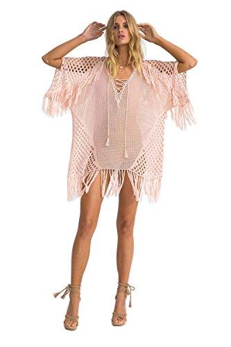 KingsCat Stylish Crochet Tassel Drawstring Beach Dress Swimsuit Cover Up ,Pink