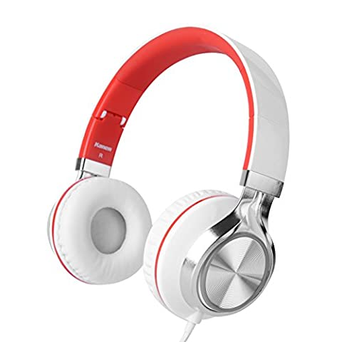 Kanen Wired Stereo Foldable Bass On-ear Headphones Over-ear Headsets Earphones with Microphone 3.5mm for Cellphones Smartphones iphone Laptop Tablet Mp4 Mp3 (Red)