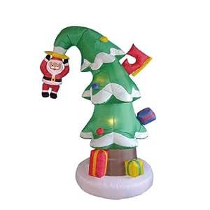 6 Foot Christmas Inflatable Santa Crashed Into Christmas Tree Yard Decoration