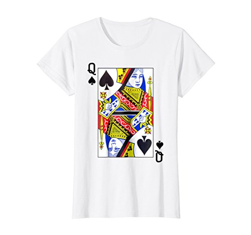 Womens Queen Spades Playing Card Funny T-Shirt Medium White