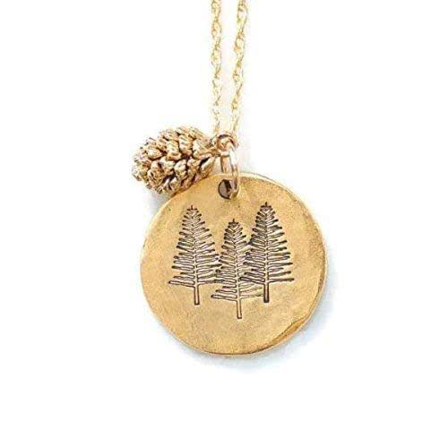 solid 14k necklace 30mm Tall Tree Gold Pine Tree pendant handmade in USA Redwood