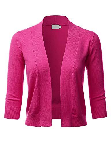 The Lovely Women 3/4 Sleeve Solid Open Bolero Shrug, Hot Pink, Large ()