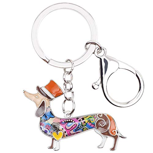 WEVENI Metal Alloy Elegant Hat Dachshund Dog Key Chains Rings Enamel Keychain Pendant Jewelry For Women Girls Bag Car Charms (Brown)