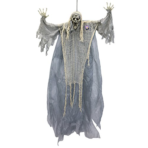 Halloween Haunters Hanging White Open Mouth Ghost - Prop Decoration