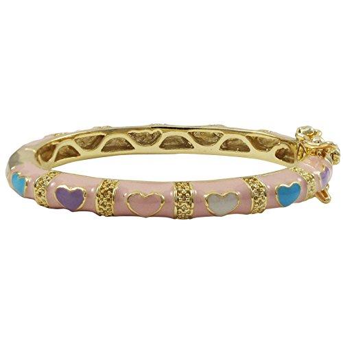Ivy and Max Gold Finish Pink Enamel Multi Hearts Girls Bangle Bracelet (35 mm: age 0-10 months) ()