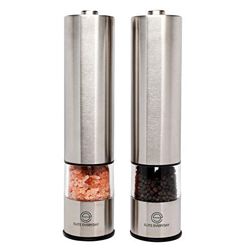 Automatic Battery Operated Salt and Pepper Grinder Set by Elite Everyday - Modern Stainless Steel Design - Lighted One Button Push Powered Electric Mill or Shaker - Refillable & Adjustable with Caps