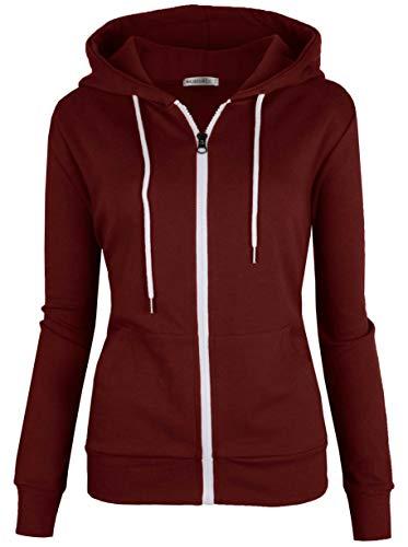 Xxl Zip Hoodie Sweatshirt - MAJECLO Women's Slim Fit Casual Full-Zip Hooded Lightweight Long Sleeve Sweatshirt (XXLarge, Wine)