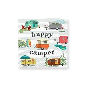 Design Design Happy Camper Cocktail Napkins, Multicolor