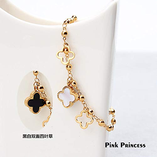 Spring Summer Steel Plated 18k Gold Color Retention White Hollow Flower Foot Chain Anklet Ankle Bracelet Jewelry Fashion Accessories (Champagne Gold