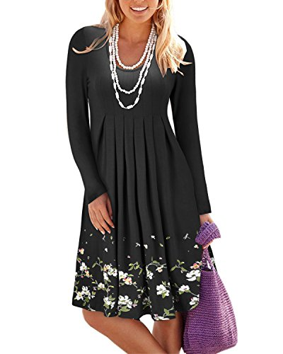KILIG Women's Casual Loose Print Pleated Long Sleeve Vest Dresses(Black, S)