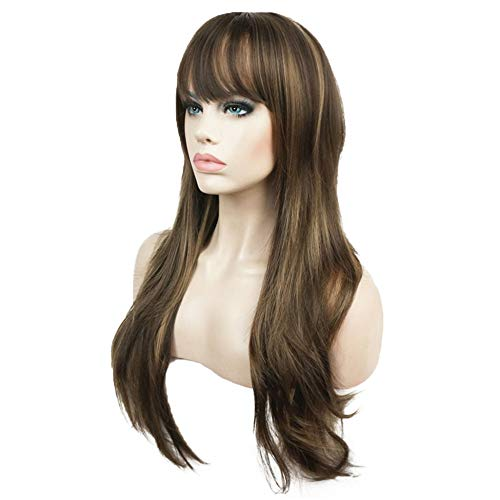 ong Straight Layered Wig Brown with Blonde Highlights Synthetic Full Wigs 24 Inches ()