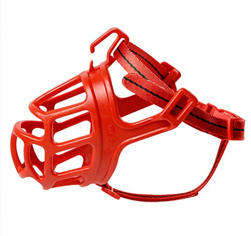 Dog Muzzle, Breathable Basket Muzzles for Small, Medium, Large and X-Large Dogs, Stop Biting, Barking and Chewing, Best for Aggressive Dogs (Large, Red)