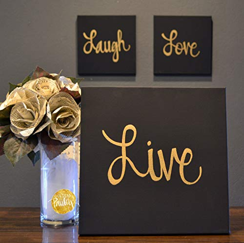 CANVASPrtint Live Laugh Love Canvas Wall Art Paintings 3 Piece Value Pack Wall Hangings Black Gold Modern Chic Cozy Living Room Wall Decor Home Decor Set of 3, 12x12 inch