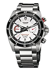 Tudor Grantour Fly-back White Dial Stainless Steel Mens Watch 20550N-WSS