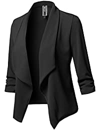 Women's Stretch 3/4 Gathered Sleeve Open Blazer Jacket