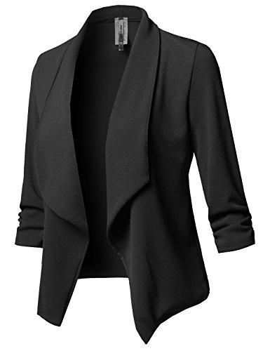 Stretch 3/4 Gathered Sleeve Open Blazer Jacket Black M ()
