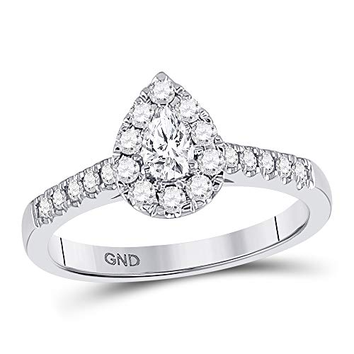 - FB Jewels Solid 14kt White Gold Womens Pear Diamond Solitaire Bridal Wedding Engagement Ring 1/2 Cttw