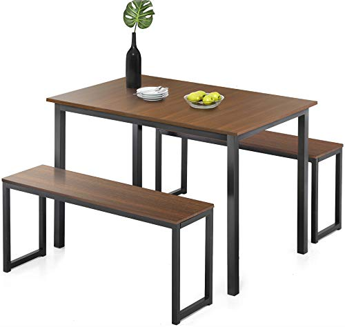 (Homury Modern Studio Soho Dining Table with Two Benches 3 Piece)