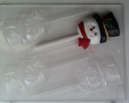 Cute snowman face w/ top- hat & scarf Lollipop C138 Christmas Chocolate Candy Mold