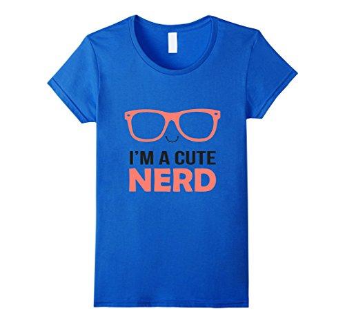 [Women's I'm A Cute Nerd Costume T-shirt XL Royal Blue] (Cute Female Nerd Costumes)