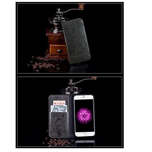 Funda iPhone 7,Funda iPhone 6Plus/6S Plus, Funda iPhone 5/5S/SE,Protector de Pantalla de Slim Case Estilo Billetera con Ranuras para Tarjetas, Soporte Plegable, Cierre Magnético(LXT-03) A