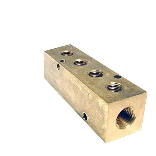 Pneumadyne M20-250-4-BRS, Inline Manifold, 4-Station, 3/8 NPT Input, 1/4 NPT Output, Brass