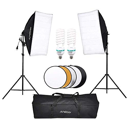 Andoer Photography Studio Softbox Lighting Tent Kit with 135W Bulb, Light Stand,Softbo,60cm 5in1 Photography Reflector and Carrying Bag for Photo Studio Product,Portrait and Video Shoot Photography
