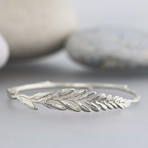 Sterling Silver Botanical Bangle - Crocosmia Flower Bud Bracelet by Sarah Hood Jewelry