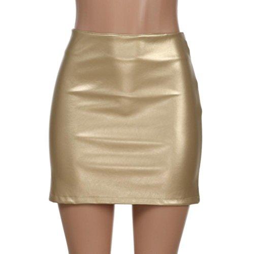 Top FZZ698 Women Casual Solid Bright Skirt, Leater Zipper Slim Hip Mini Skirt free shipping