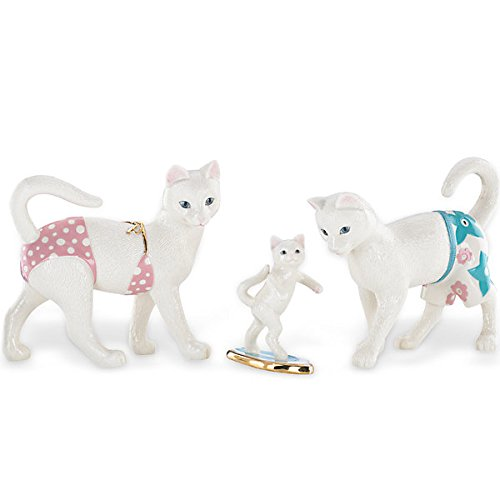 Cottage Country Lenox - Lenox Kitty's Surfing Lessons Porcelain Collectible Figurine 843177 - Set of 3