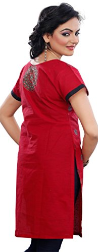 Indian Kurti Top Tunic Womens Cotton Short Sleeve Blouse (Red, L)