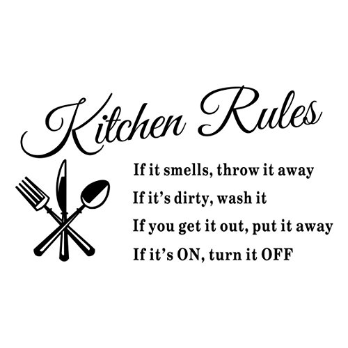VWH Kitchen Rules Wall Stickers Mural Wallpaper Kitchen Decorations