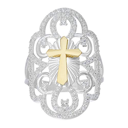 nia Floral Filigree Design Cross Ring for Women in Two Tone Plated 925 Sterling Silver (Size 6) ()