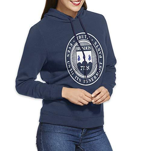 (QTHOO Women's Brandeis University Long Sleeve Hooded Sweatshirt Navy)