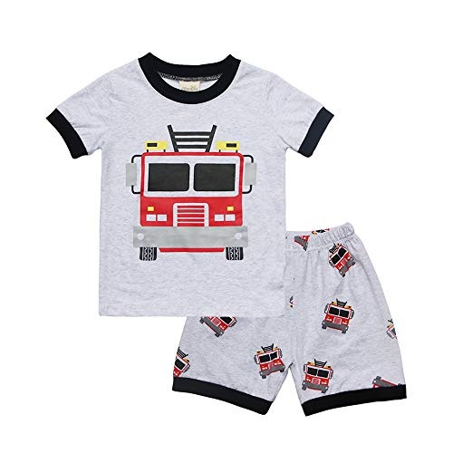 Little Boy Clothing Set Toddler 2 PCS Outfit Set Fire Truck Print Tee and Shorts 5T