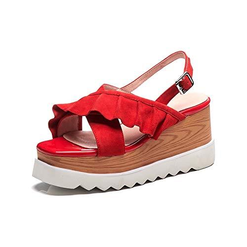 rouge HommesGLTX Nouveau Sweet Ruffles Sandals Femmes D'été Enfant Peep Toe Plateforme Talons Hauts Sandales Femmes Chaussures Femme