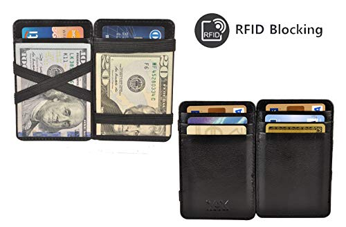 (XAX RFID Blocking Thin Minimalist Magic Wallet, Vegetable Tan Leather (Black))