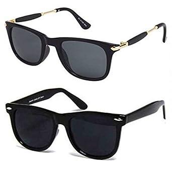 0a62731fcbe5 Younky Unisex UV Protected Wayfarer Stylish Mercury Sunglasses For Men  Women Boys & Girls (YNKY_BlkStk-BlkWay|55|Black) - 2 Sunglass Case:  Amazon.in: ...